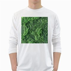 Green Geological Surface Background White Long Sleeve T Shirts