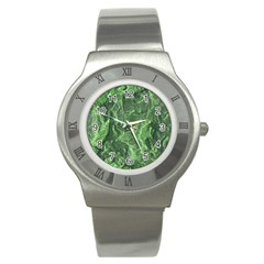 Green Geological Surface Background Stainless Steel Watch