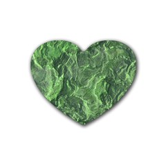 Green Geological Surface Background Heart Coaster (4 Pack)