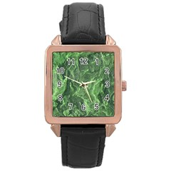 Green Geological Surface Background Rose Gold Leather Watch
