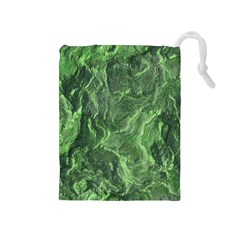 Green Geological Surface Background Drawstring Pouches (medium)