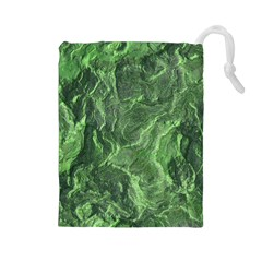 Green Geological Surface Background Drawstring Pouches (large)