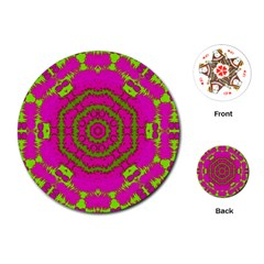 Fern Forest Star Mandala Decorative Playing Cards (round)  by pepitasart
