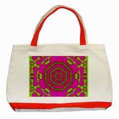 Fern Forest Star Mandala Decorative Classic Tote Bag (red) by pepitasart