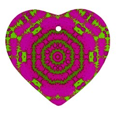 Fern Forest Star Mandala Decorative Heart Ornament (two Sides) by pepitasart