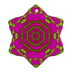 Fern Forest Star Mandala Decorative Ornament (snowflake) by pepitasart