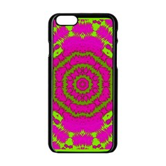 Fern Forest Star Mandala Decorative Apple Iphone 6/6s Black Enamel Case by pepitasart
