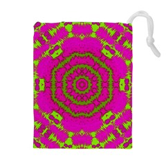 Fern Forest Star Mandala Decorative Drawstring Pouches (extra Large) by pepitasart
