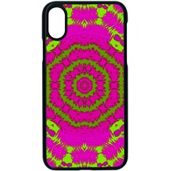 Fern Forest Star Mandala Decorative Apple Iphone X Seamless Case (black) by pepitasart