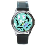 Turquoise Silken Windhound Watch - Round Metal Watch