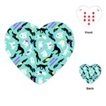 Turquoise Silken Windhound Heart Playing Cards - Playing Cards (Heart)