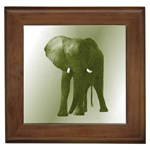 Green Elephant Mosaic Framed Tile