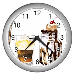Coffee And Milkshakes Wall Clocks (silver)  by KuriSweets