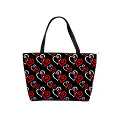 Red And White Hearts Large Shoulder Bag by Goddess