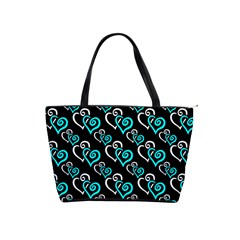 Turquoise And White Hearts Large Shoulder Bag by Goddess
