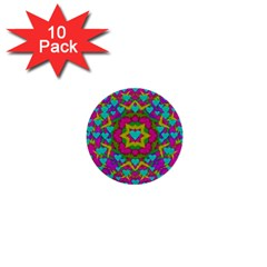 Hearts In A Mandala Scenery Of Fern 1  Mini Buttons (10 Pack)  by pepitasart