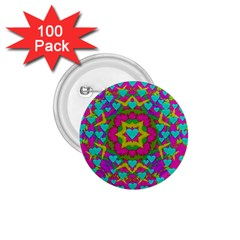Hearts In A Mandala Scenery Of Fern 1 75  Buttons (100 Pack)  by pepitasart