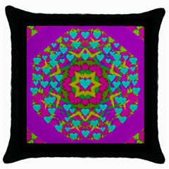Hearts In A Mandala Scenery Of Fern Throw Pillow Case (black) by pepitasart