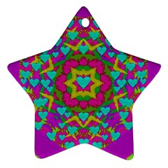 Hearts In A Mandala Scenery Of Fern Star Ornament (two Sides) by pepitasart