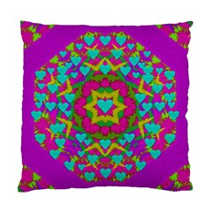 Hearts In A Mandala Scenery Of Fern Standard Cushion Case (one Side) by pepitasart