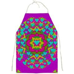 Hearts In A Mandala Scenery Of Fern Full Print Aprons by pepitasart
