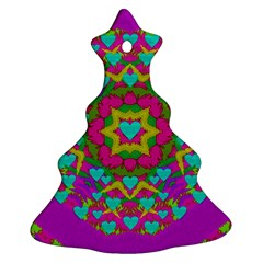 Hearts In A Mandala Scenery Of Fern Christmas Tree Ornament (two Sides) by pepitasart