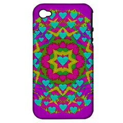 Hearts In A Mandala Scenery Of Fern Apple Iphone 4/4s Hardshell Case (pc+silicone) by pepitasart