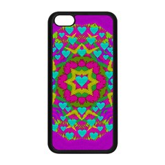 Hearts In A Mandala Scenery Of Fern Apple Iphone 5c Seamless Case (black) by pepitasart