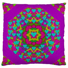 Hearts In A Mandala Scenery Of Fern Standard Flano Cushion Case (one Side) by pepitasart