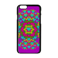 Hearts In A Mandala Scenery Of Fern Apple Iphone 6/6s Black Enamel Case by pepitasart