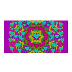 Hearts In A Mandala Scenery Of Fern Satin Wrap by pepitasart