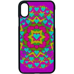 Hearts In A Mandala Scenery Of Fern Apple Iphone X Seamless Case (black) by pepitasart