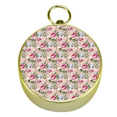 Cute Floral 218a Gold Compasses by MoreColorsinLife