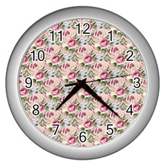 Cute Floral 218a Wall Clocks (silver)  by MoreColorsinLife