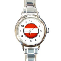 Austria Country Nation Flag Round Italian Charm Watch