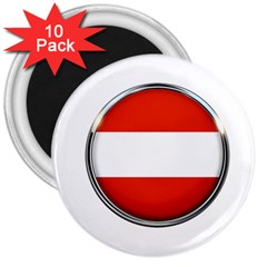 Austria Country Nation Flag 3  Magnets (10 Pack)