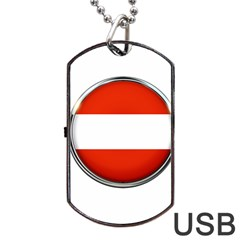 Austria Country Nation Flag Dog Tag Usb Flash (one Side) by Nexatart