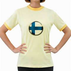 Finland Country Flag Countries Women s Fitted Ringer T Shirts