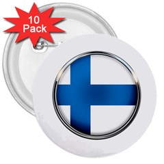 Finland Country Flag Countries 3  Buttons (10 Pack)