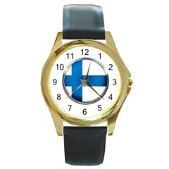 Finland Country Flag Countries Round Gold Metal Watch