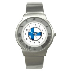 Finland Country Flag Countries Stainless Steel Watch