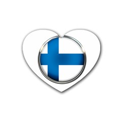 Finland Country Flag Countries Rubber Coaster (heart)