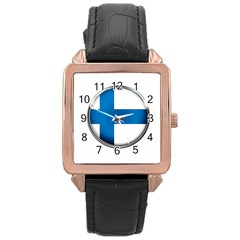 Finland Country Flag Countries Rose Gold Leather Watch  by Nexatart
