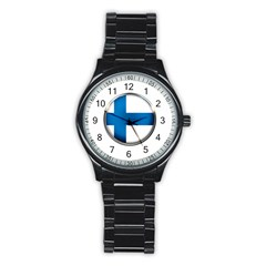 Finland Country Flag Countries Stainless Steel Round Watch