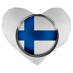 Finland Country Flag Countries Large 19  Premium Flano Heart Shape Cushions
