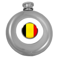 Belgium Flag Country Brussels Round Hip Flask (5 Oz)