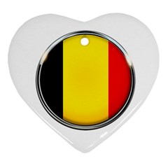 Belgium Flag Country Brussels Heart Ornament (two Sides)