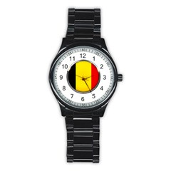 Belgium Flag Country Brussels Stainless Steel Round Watch