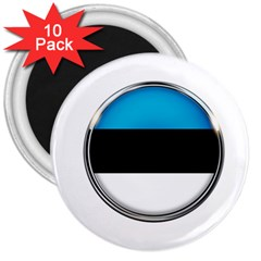 Estonia Country Flag Countries 3  Magnets (10 Pack)