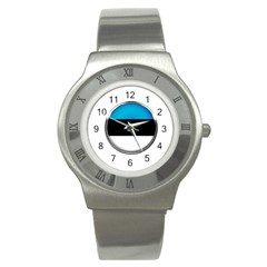 Estonia Country Flag Countries Stainless Steel Watch